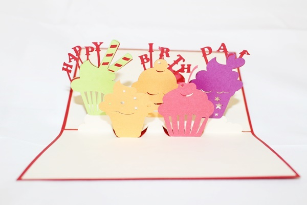 3D Birthday Cup Cakes, Greeting Card, GAS_0006