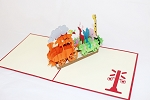 3D Birthday Train w/ Animals, Greeting Card, GAS_0144