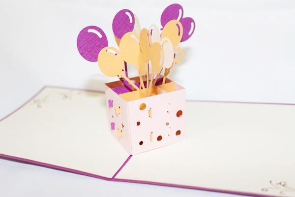 3D Birthday Balloon Box Greeting Card GAS 0008
