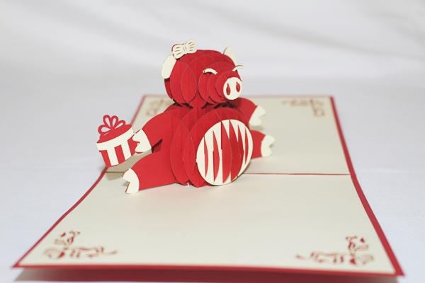 3D Birthday Pig Greeting Card GAS 0232