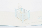 3D Baby Boy Crib, Greeting Card, GAS_0095