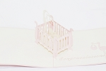 3D Baby Girl Crib, Greeting Card, GAS_0096