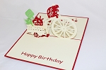 3D Birthday Turtle on Bicycle, Greeting Card, GAS_0147