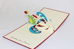 3D Surfing Alligator, Greeting Card, GAS_0157