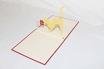 3D Mouse Give Cat Present, Greeting Card, GAS_0190