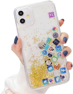 Liquid Glitter App Icons Bling Quicksand Case iPhone 11 / 11 Pro / 11 Pro Max