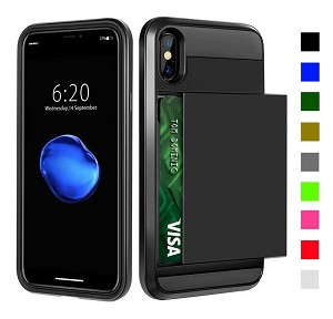 Card Slot Tough Armor Wallet Design Case Apple iPhone X, XS, XR, or XS Max