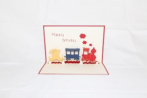 3D Birthday Train, Greeting Card, GAS_0001
