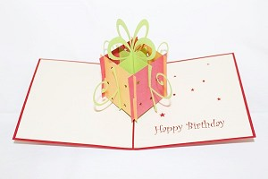 3D Birthday Gift Box Red, Greeting Card, GAS_0003