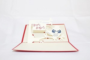 3D Birthday Owl, Greeting Card, GAS_0025