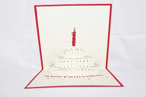 3D Birthday Cake 1 Year, Greeting Card, GAS_0027