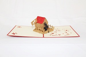 3D Dog in House, Greeting Card, GAS_0030