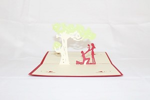 3D Love Couple in Park, Greeting Card, GAS_0053
