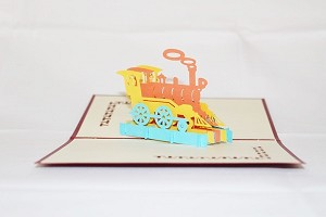 3D Birthday Color Train, Greeting Card, GAS_0070