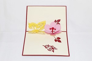 3D Flower with Butterflies, Greeting Card, GAS_0071