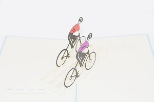 3D Bicyclists, Greeting Card, GAS_0094