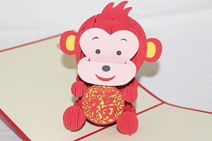 3D Lucky Monkey, Greeting Card, GAS_0136