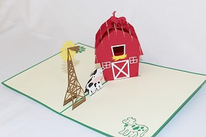 3D Barn with Cow, Greeting Card, GAS_0156