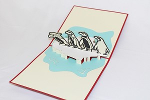 3D Penguins With Baby, Greeting Card, GAS_0159