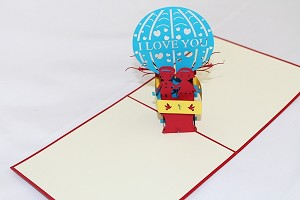 3D Kids on Hot Air Balloon, Greeting Card, GAS_0170