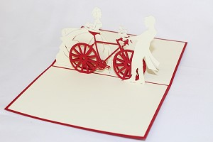 3D Couple On Bicycle, Greeting Card, GAS_0174