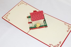 3D Chicken Coop, Greeting Card, GAS_0217