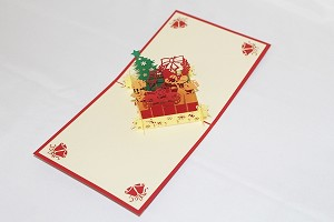 3D Santa with Reindeer, Greeting Card, GAS_0237