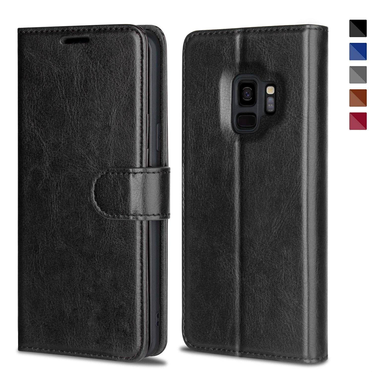 Leather Wallet Magnetic Flip Case with strap Samsung Galaxy S9 or S9 Plus